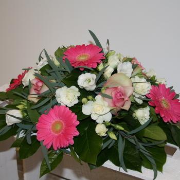 Montage mortuaire blanc et rose