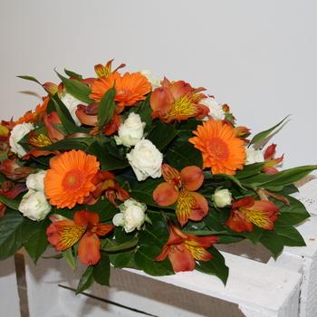 Montage mortuaire Orange et Blanc